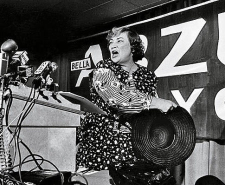Bella Abzug launches her New York mayoral campaign in this 1977 photograph by Bettye Lane.