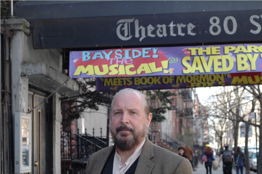 Lorcan Otway outside of Theatre 80, 80 Saint Marks Place, New York, NY. Photograph by Liza Zapol.