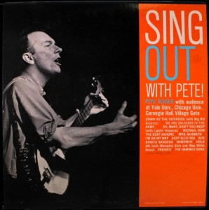 A young Pete Seeger on the cover of Sing Out, a still publishing folk music magazine Seeger founded in 1950.