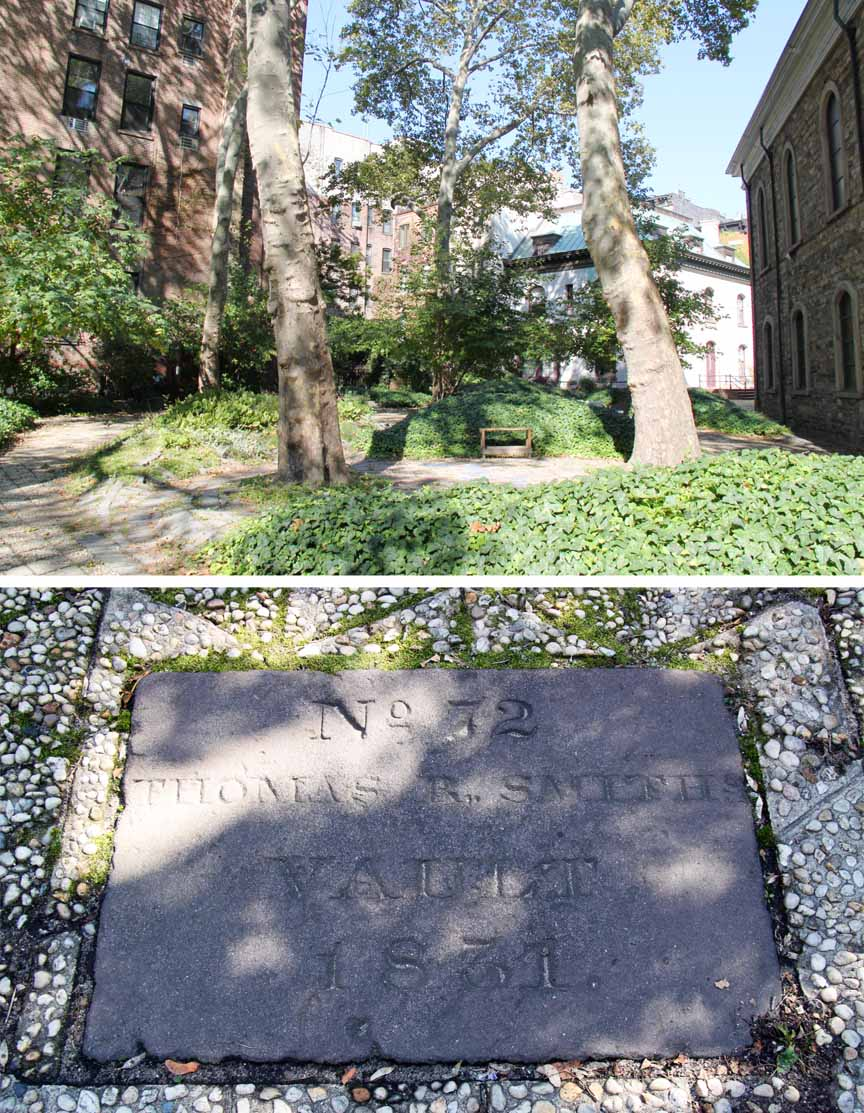 The west yard of St. Mark's Church in the Bowery (top); A close up of a vault marker (bottom).