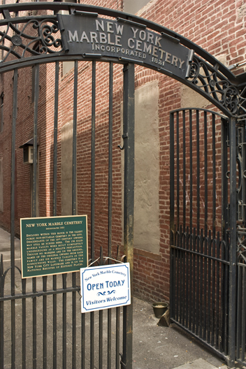 Entrance to the New York Marble Cemetery on Second Avenue. Photo courtesy of Bob Estremera.