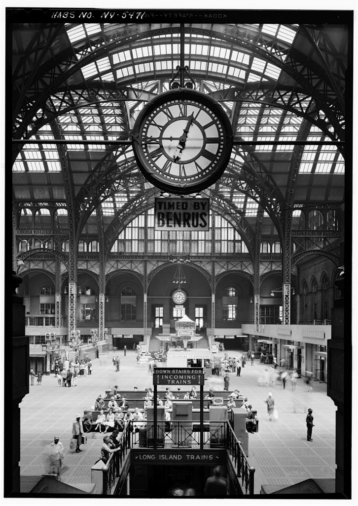 The interior of former Pennsylvania Station. Courtesy of the Library of Congress, Historic American Buildings Survey, 1962.