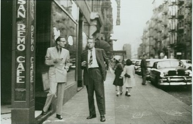 The San Remo Cafe, with Allen Ginsberg seen on the right.