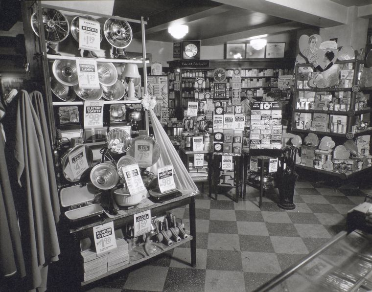 Before becoming a partner at Block Drug Store, Carmine Palermo Sr. worked at a Whelan's Drug Store. This Berenice Abbot photo is via the NYPL.