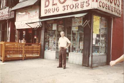 Carmine Palermo Sr. outside Block Drug Store.