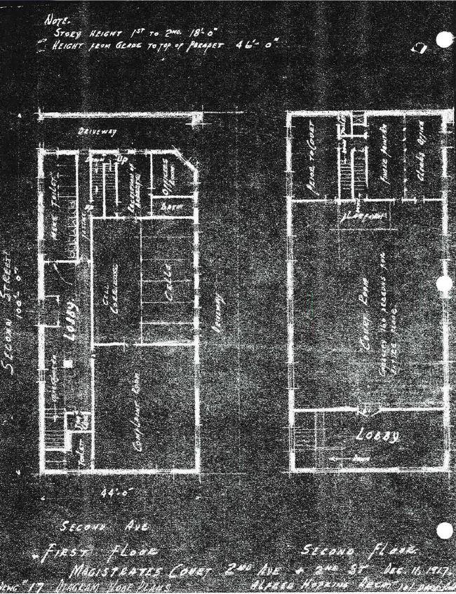 Magistrates' Court, 1917 Floor Plan. Source: Department of Buildings.