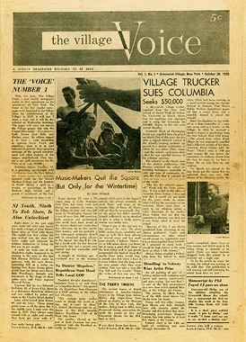 The first issue of the Village Voice, from October, 1955.
