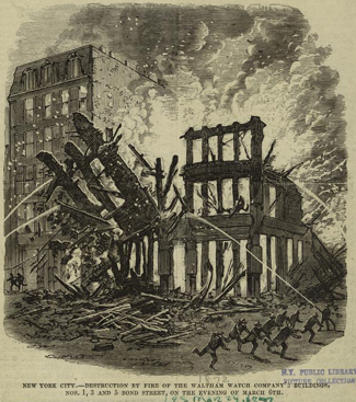 Depiction of the fire that destroyed the original Bond Street building in 1877. Image via NYPL.