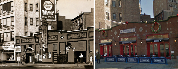 (l.) 99 Seventh Avenue South ca. 1940 (image via NYPL) and (r.) recently.