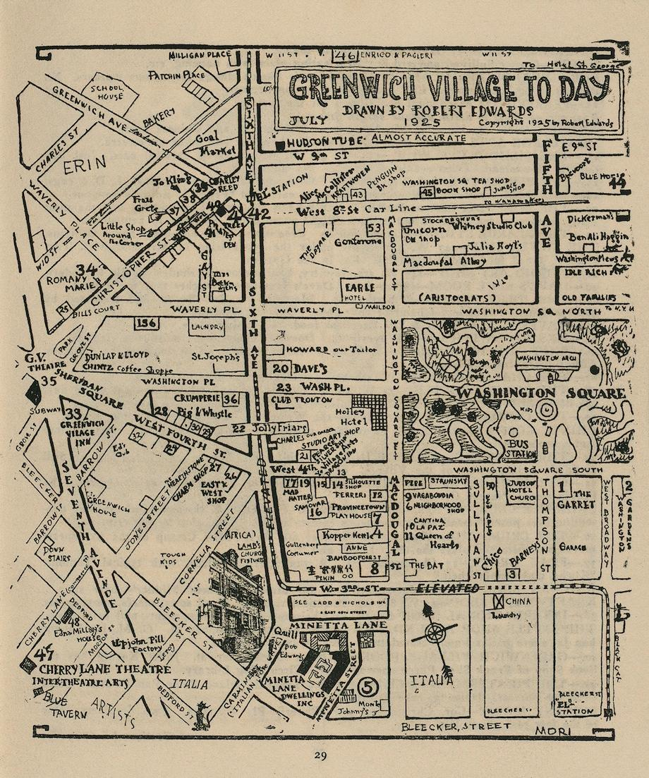 Greenwich Village To Day. Map drawn by Robert Edwards, 1925. Image via the Harry Ransom Center.