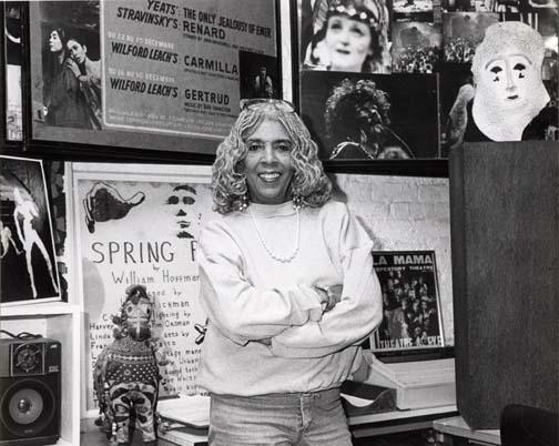 Ellen Stewart in the La MaMa Archive, 1989.  Photo by Jonathan Slaff.