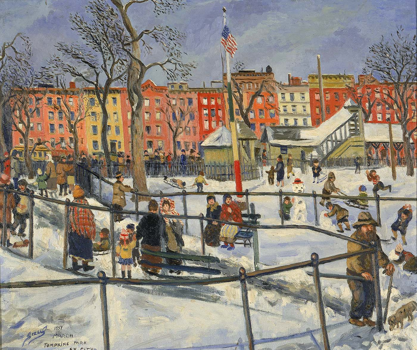 Saul Kovner's Tompkins Park, N.Y. City was painted in 1934, through the Public Works of Art Project. Image via Smithsonian American Art Museum.