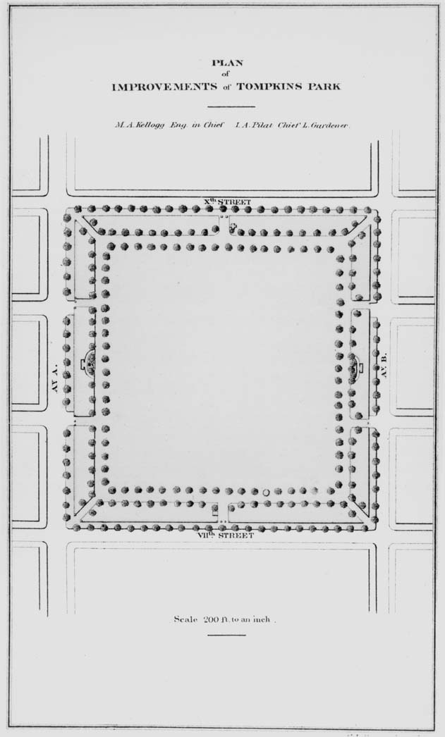 Plan for Improvements of Tompkins Square Park 1870-1871. Photo courtesy of the New York City Parks Photo Archive.