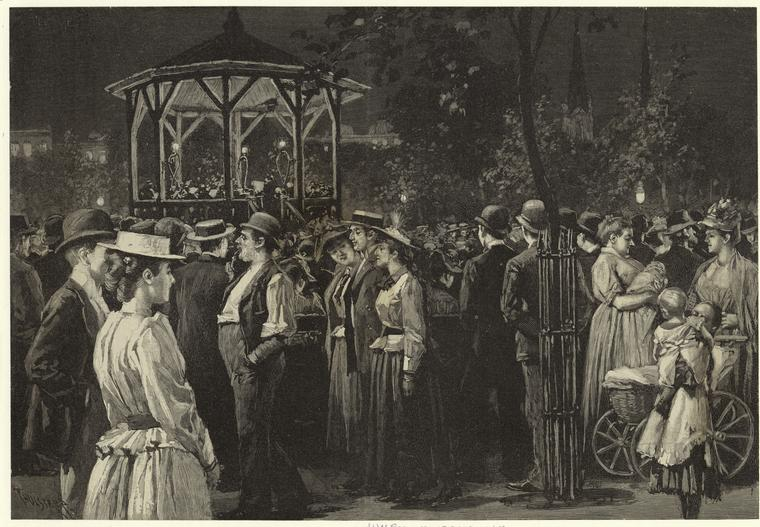An 1891 print: Popular concert in Tompkins Square, N.Y. Photo via New York Public Library