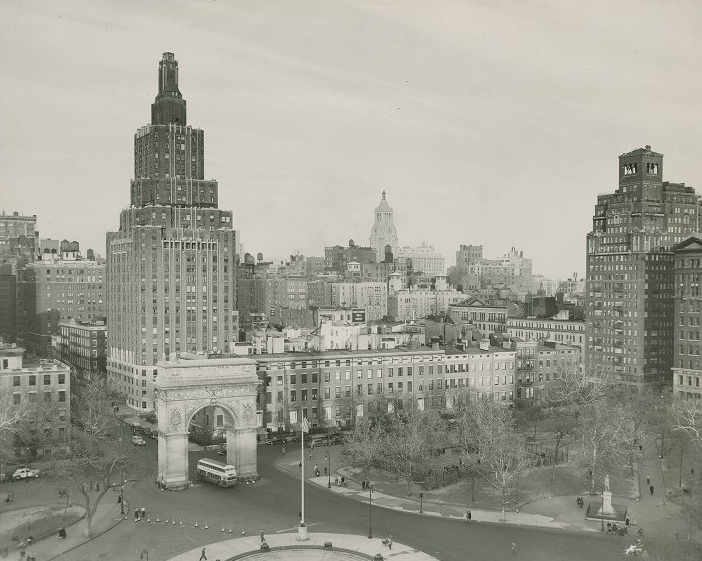 Washington Square Park, Aeriel View, Looking North 1950. (Photo from NYULocal)