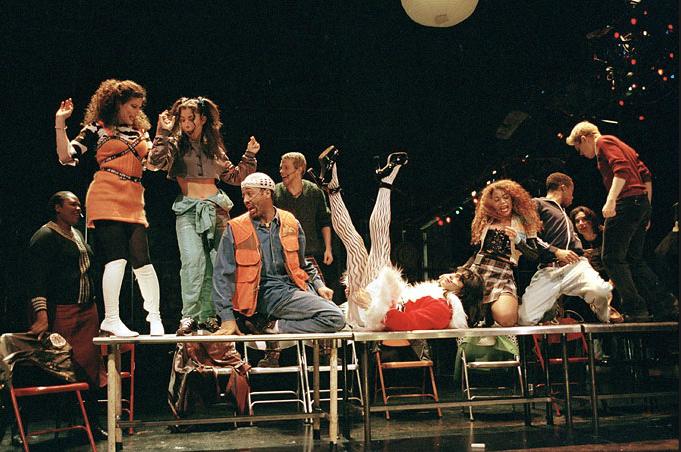 """La Vie Boheme"" Scene performed by the original RENT cast on Broadway. Photo by Sara Krulwich, NY Times."