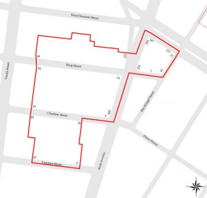 The borders of the Charlton-King-Vandam Historic District include MacDougal Street to the east and runs mid-block on the three streets to the west. Map via the NYC Landmarks Preservation Commission.