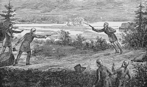 American politician Aaron Burr (1756 - 1836) fatally wounds Alexander Hamilton (1757 - 1804) with a shot from his pistol during a duel in Weehawken, New Jersey, July 11, 1804.  (Photo by Kean Collection/Getty Images)