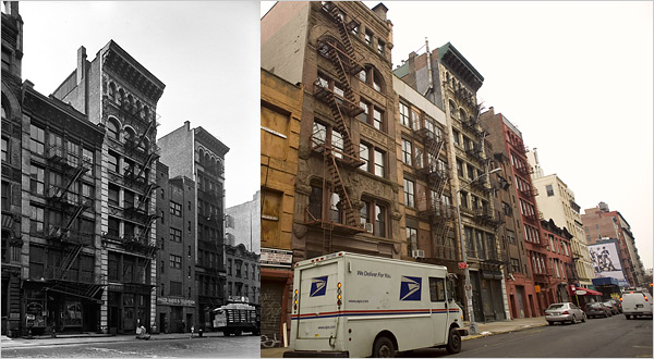 Great Jones Street 1936 and 2010. Image courtesy of Media History NY.