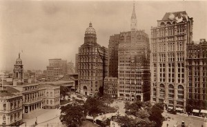 Pulitzer's World Building from Park Row, designed by George Post, was at one time the tallest building in the world. It sits near the Tribune building, at center. (Courtesy: boweryboyshistory.com)
