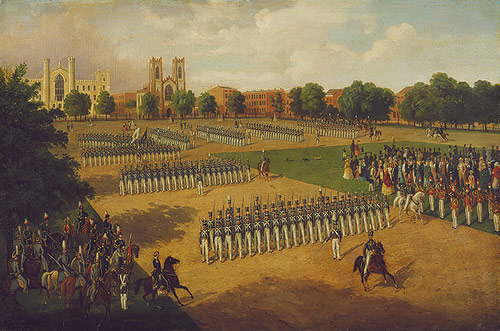Seventh Regiment on Review, Washington Square, New York, 1851,Otto Boetticher.  The view depicts the northwest corner of the Washington Square parade ground with New York University in the left foreground. Image courtesy of the Metropolitan Museum of Art.