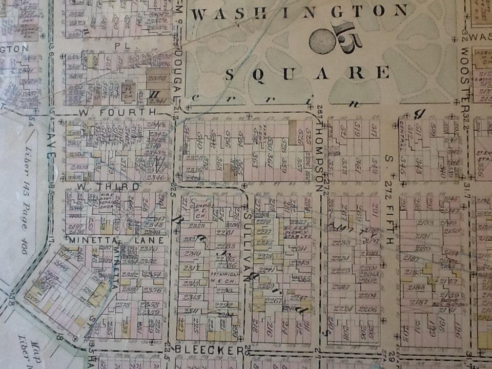 Map of Washington Square showing Minetta Lane, circa 1889.  Image courtesy of the New York Public Library.