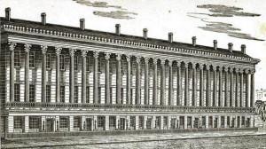 Colonnade Row, The original nine buildings. Image via NYPL