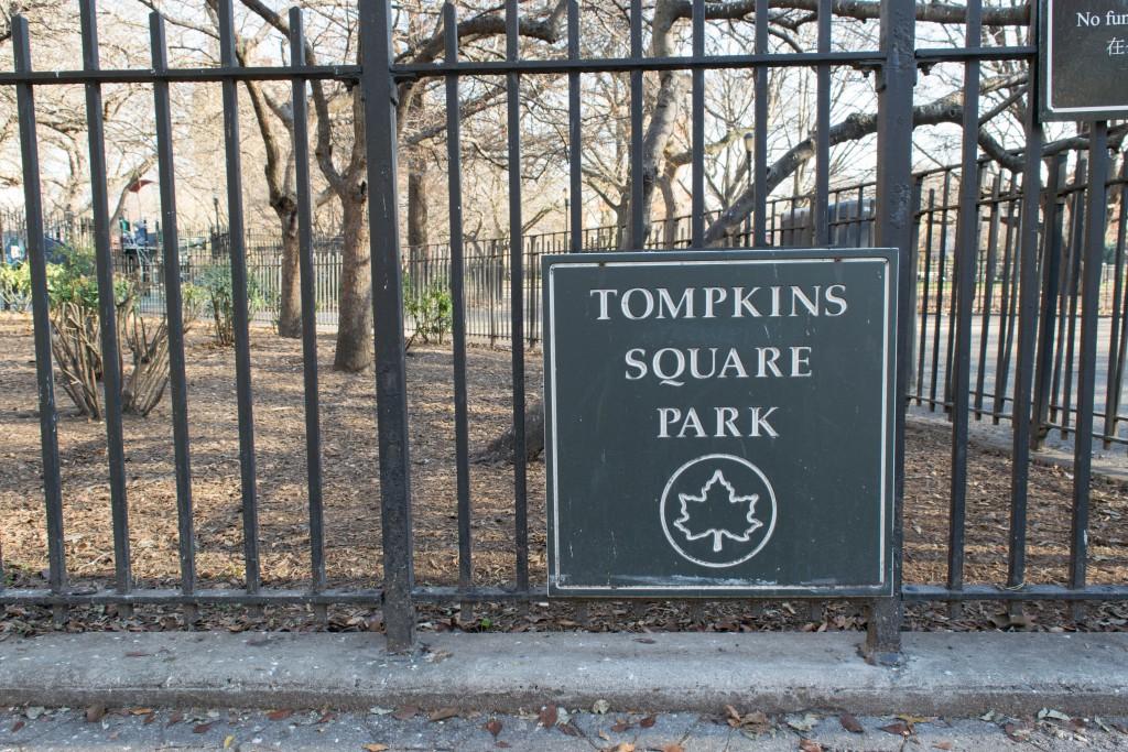 Tompkins Square Park sign. Photo courtesy of ashleychow.com.