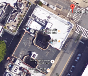 242 East 4th Street and 46 Avenue B, aerial view courtesy of Google Maps