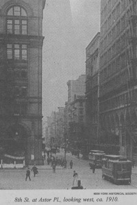 8th Street and Broadway looking west. New York Historical Society.