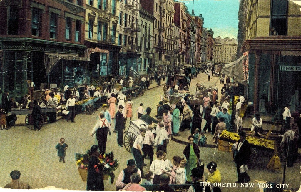 "The Lower East Side Jewish ""ghetto"", 1922. Via https://ephemeralnewyork.files.wordpress.com/2013/06/theghettopostcard1922.jpg"