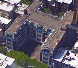 You can see the H-Plan design from above. Image via Google.