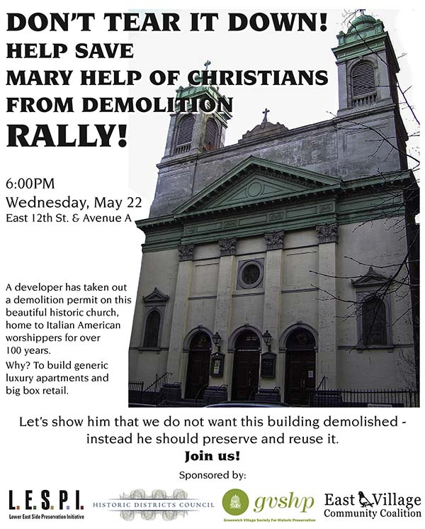 Mary Help of Christians call to rally flyer. Image courtesy of EV Grieve.