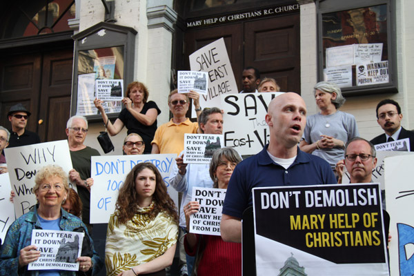 GVSHP Executive Director Andrew Berman at the Mary Help of Christians rally, May 22, 2013. Photo courtesy of The Villager.