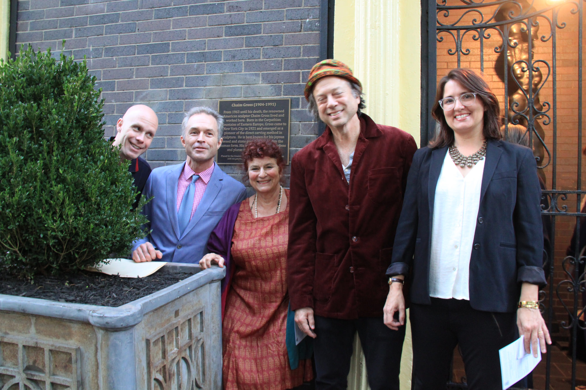 Andrew Berman Executive Director of GVSHP, Harry Bubbbins, Mimi Gross,, Phil Hartman of Two Boots and Dr. Susan Fisher.
