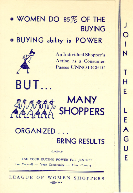 League of Women Shoppers pamphlet, circa 1937. Jessie Lloyd O'Connor Papers, Sophia Smith Collection, Smith College.