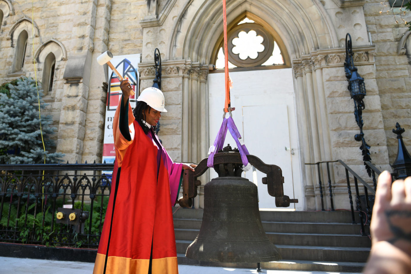 Rev. Dr. Jacqui Lewis of Middle Collegiate Church rings the New York Liberty Bell