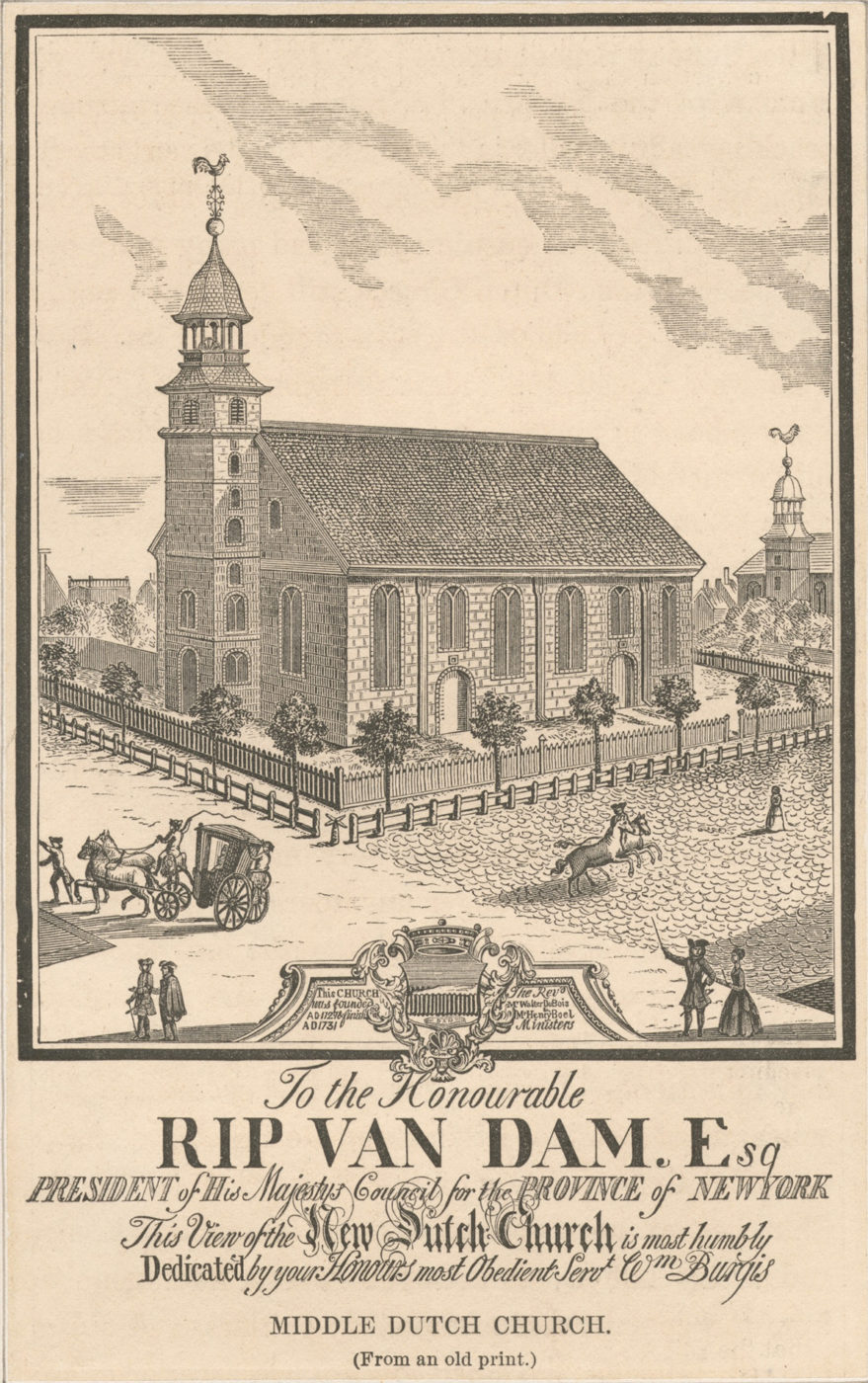 The Middle Dutch Church on Nassau Street in the 1700s