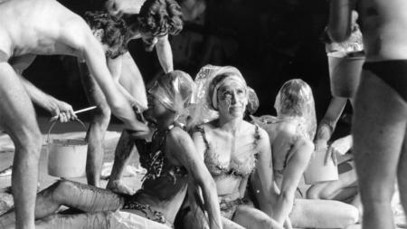 "Performers prepare Carolee Schneemann's ""Meat Joy"" 1964 at Judson Memorial Church."