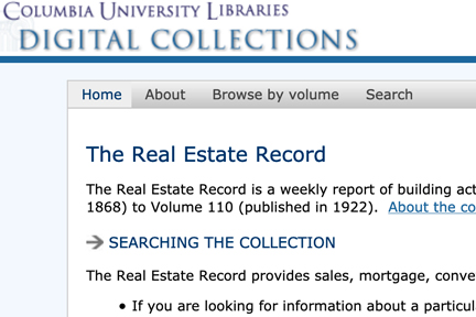 Screenshot: Columbia University's digital collections
