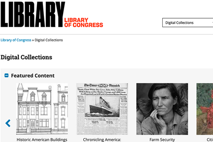 Library of Congress Digital Collections screenshot