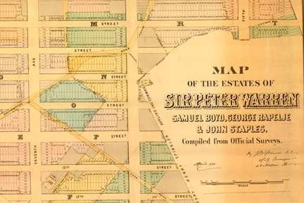 Screenshot: Map of the Estates of Warren, Boyd, Rapelje, Staples 1881