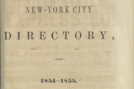 Screenshot: Title Page, NYC Directory 1854