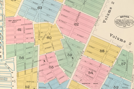 Sanborn Fire Map of Greenwich Village, section, via New York Public Library collection