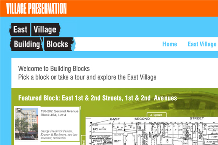 Screenshot of Village Preservation's East Village Building Blocks site