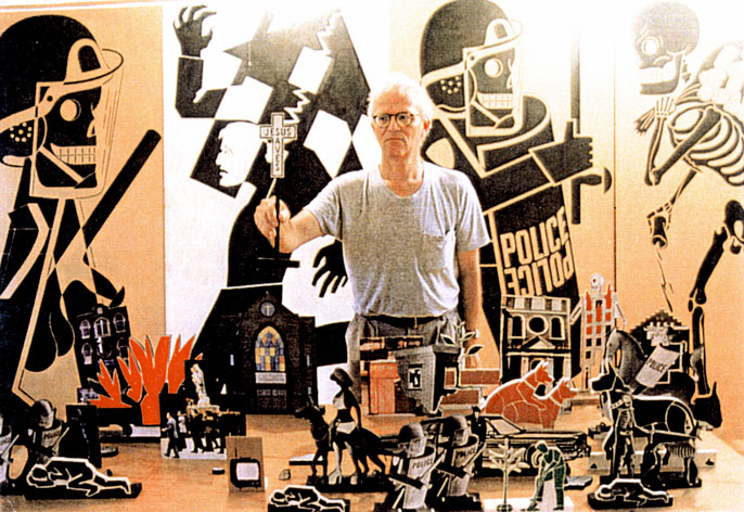 Anton van Dalen with his black, white, and red stenciled cut-outs for the Avenue A Cut-Out Theatre