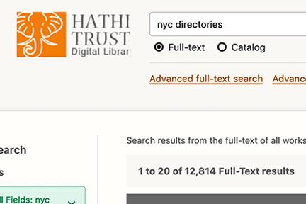 Screenshot: Hathi Trust Digital Library, NYC Directories