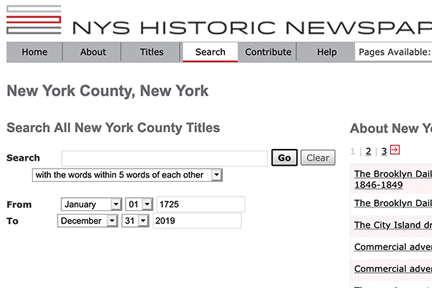Screenshot: NY Historic Newspapers site