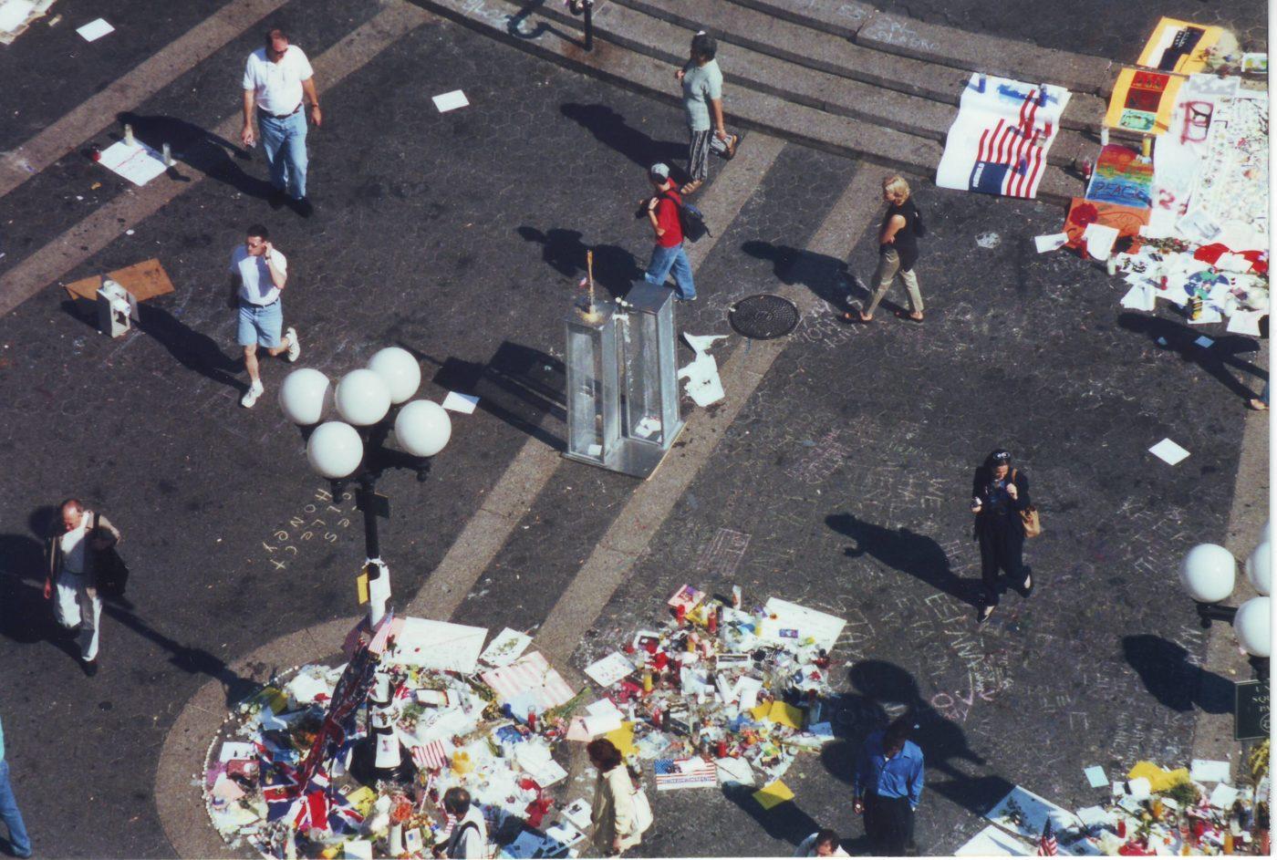 Marjorie Zien- 911 twin towers standing at Union Sq memorial