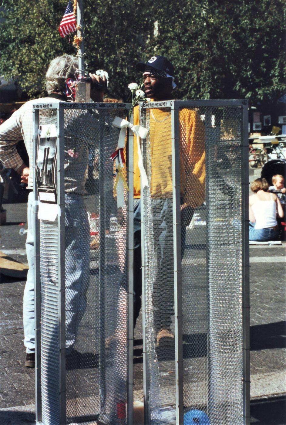Marjorie Zien - 911 twin towers closeup at Union Sq memorial